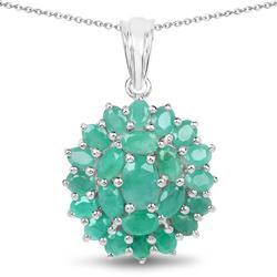 4+ Carat Genuine Emerald Pendant Necklace
