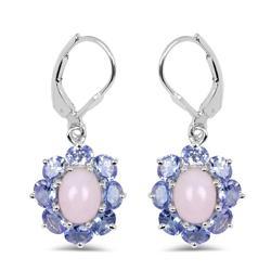 5 Carat Pink Opal & Tanzanite Earrings