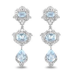 Sterling Silver & Genuine Blue Topaz Earrings