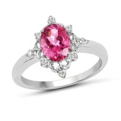 Pink Tourmaline & Diamond Cocktail Ring in Solid Gold