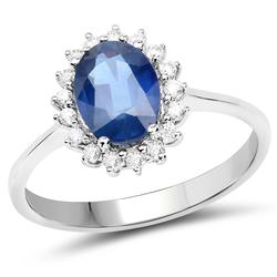 14kt Gold Blue Sapphire and Diamond Ring