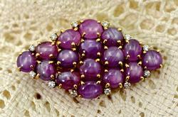 Unusual Pink Sapphire and Diamond 14K Pendant/Brooch