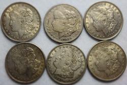 6 1921 Morgan Dollars