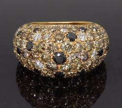 18K Rose Gold Multi-Colored Diamod Ring