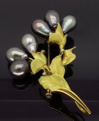 Tahitian Pearl and Diamond Brooch