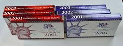 2001 2002 & 2003 US Mint Silver and Clad Proof Sets