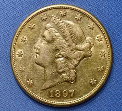 AU $20 Liberty 1897-S Double Eagle