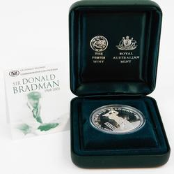 Australia $5 Silver Proof Coin Sir Donald Bradman