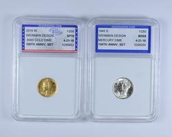 Lot (2) MS68 1945-D Silver & SP70 2016-W .999 Gold Mercury Dimes - IGS
