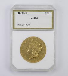 AU50 1850-O $20.00 Liberty Head Gold Double Eagle - Graded PCI