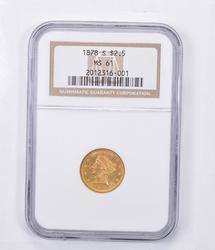 MS61 1878-S $2.50 Liberty Head Gold Quarter Eagle - Graded NGC