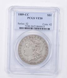 VF30 1889-CC Morgan Silver Dollar - Graded PCGS