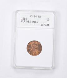 MS64 RB 1985 Lincoln Memorial Cent - Mint Error: Clashed Dies - ANACS