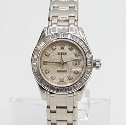 Ladies 18Kt White Gold Rolex Masterpice With Diamonds