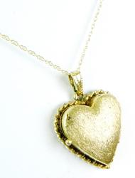 Vintage Solid 14K Heart Locket & Chain