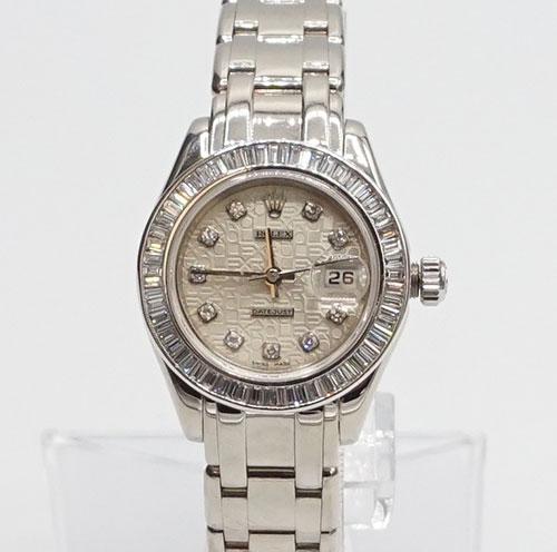 Ladies 18Kt White Gold Rolex Masterpice With Diamonds
