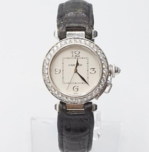 Ladies 18Kt White Gold Cartier Pasha Diamond Watch