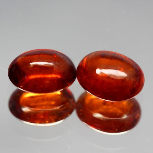 Rich amber 5.26ct set of untreated Garnets