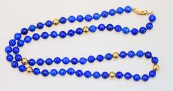 Natural Lapis & 14k Gold Necklace
