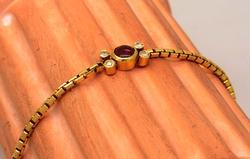 Ruby & Diamond Bracelet in Gold, 7in