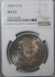 1883 O MS 63 Toned Unc Morgan Dollar