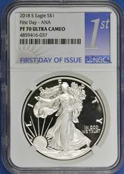 2018-S First Day ANA Show PF70 Ultra NGC Silver Eagle