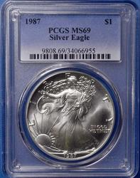 1987 Silver Eagle PCGS MS69