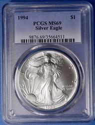 1994 Silver Eagle PCGS MS69