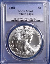 2018 Silver Eagle PCGS MS69