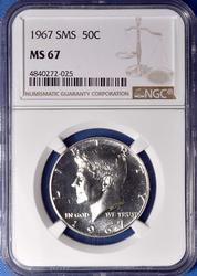 1967 SMS Kennedy Half MS67 NGC