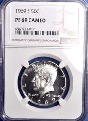 1969-S PF69 Cameo Kennedy 50C, NGC