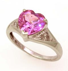Pink Sapphire Heart Ring in White Gold, Size 7
