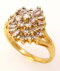 Brilliant Diamond Cluster Ring, Size 6.5