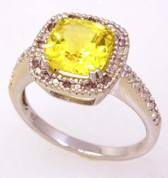 Vibrant Yellow Sapphire Ring, Size 6.75