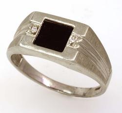 Men's Black Onyx Ring, Size 9.75