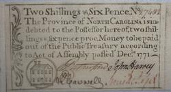 Choice Unc North Carolina 12/1/1771 2 1/2 Shilling Note
