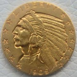 1909 $5 Five Dollars US Gold Indian