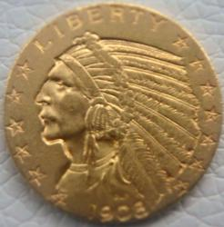 1908 $ 5 Five Dollar US Gold Indian