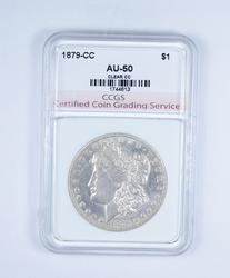 AU50 1879-CC Morgan Silver Dollar - Graded CCGS