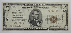 1929 $5 The First NB of Durham North Carolina National Currency Note