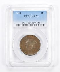 AU58 1838 Young Head Large Cent - Graded PCGS