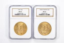 Lot (2) MS62 1908 & 1928 $20.00 Saint-Gaudens Gold Double Eagles NGC