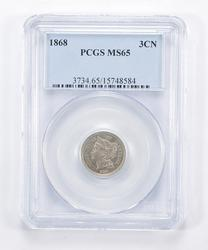 MS65 1868 Nickel Three-Cent Piece - Graded PCGS