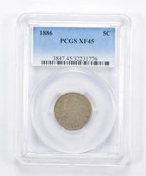 XF45 1886 Liberty V Nickel - Graded PCGS