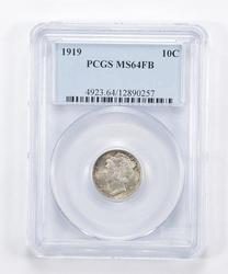 MS64 FB 1919 Mercury Dime - Graded PCGS