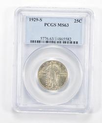 MS63 1929-S Standing Liberty Quarter - Graded PCGS