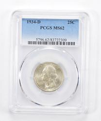 MS62 1934-D Washington Quarter - Graded PCGS