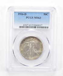 MS63 1916-D Walking Liberty Half Dollar - Graded PCGS