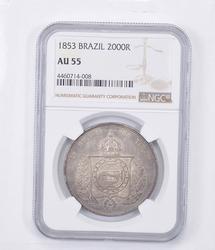 AU55 1853 Brazil 2000 Reis - Graded NGC