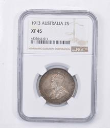 XF45 1913 Australia 2 Shillings - Graded NGC